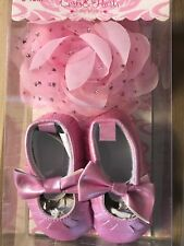 Nwt Curls Pearls Baby Girls Sz 0-12M Shoes Set Booties Hair band
