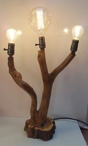 3 AMIGOS Rustic Wood bedside table lamp handmade from Tree Branch one only made
