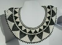 Vintage Black White Beads Deco Hand Beaded Collar