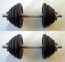 36KG Dumbbell Set, up to 2 x 18kg, Spinlock Bars, Iron Weights / Discs / Plates