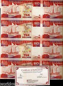 SINGAPORE 10 DOLLARS P20 1988 UNCUT COMPLETE SHEET X 40 SHIP FISH UNC MONEY NOTE