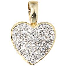Anhänger Herz 585 Gold Gelbgold 42 Diamanten Brillanten 0,25ct. Herzanhänger.