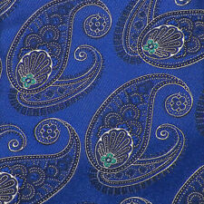 CREMIEUX Blue Navy White Green PAISLEY Handmade Woven Silk Tie NWT