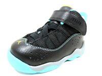 Nike Air Jordan 6 Rings TD 323420 039 Toddlers Shoes Black Leather Sneakers Rare