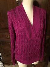 Sweater LULU BRAVO  Women's Size L Magenta V Neck