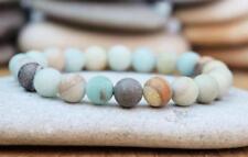 8mm Men Natural Gemstone  amazonite Stone Therapy Beads Cuff Bracelets
