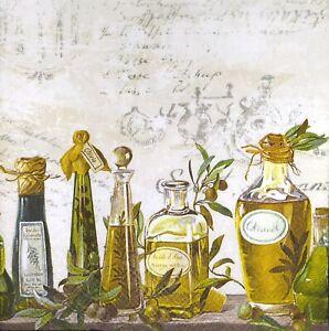 N621# 3 x Single Paper Napkins For Decoupage Craft Row Of Oil & Vinegar Bottles