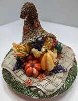 Fall Thanksgiving Cornucopia Ceramic Lid Top Pumpkin Autumn