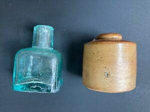 Vintage Inkwell Ink Bottles, one shear top aqua glass, on pottery. 2 for 1 bid!