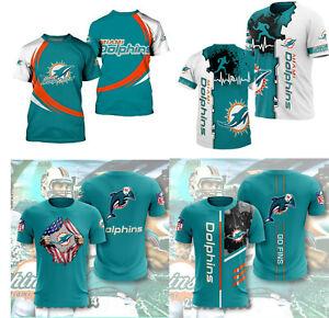 Miami Dolphins Football T Shirt Mens Summer Short Sleeve Shirt Tee Crew Neck