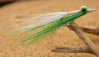 6ct - Lime / White Clouser Minnow Flies - Mustad Signature Duratin Hooks