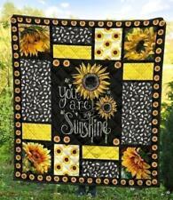 You Are My Sunshine Sunflower Quilt Blanket, Fleece Blanket