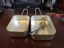 Two Aluminium Military Mess Tins Complete With Cutlery