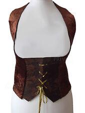 Velluto marrone Panciotto Corsetto Medievale Cameriera/Fanciulla Costume 10-12-14