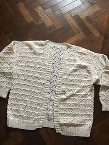 "hand knitted cardigan Ladies Size M /L Warm Fleck DK No Buttons Casual 46""Ch"