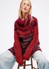 NEW Free People pink orange black gray Chunky Printed Turtleneck Tunic Sweater L