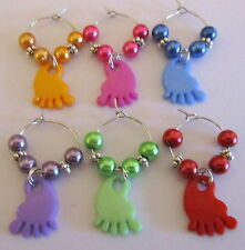 SET OF 6 BABY SHOWER WINE GLASS RINGS CHARMS CUTE ACRYLIC BABY FEET