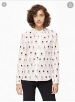 Kate Spade Shirt Blouse Nail Polish Pink Silk Dress Top White Long Sleeve S RARE