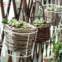 NEW 2PCS Metal Iron Flower Pot Hanging Garden Balcony Planter Home Decor Basket