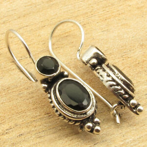 925 Silver Plated Birthstone Jewelry ! BLACK ONYX 2 Gemstone Earrings 1 1/8""