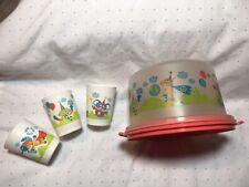 Lot Of Three Vintage Tupperware Kids Cups & Matching Cake Taker