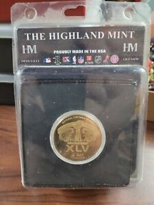 official Superbowl XLV bronze flip coin Packers vs Steelers highland Mint