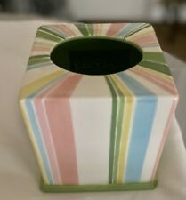 Lilly Pulitzer Tissue Box Cover Ceramic Colorful Rainbow