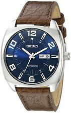 Seiko Men's SNKN37 Stainless Steel Automatic Self-Wind Watch with Brown Leather