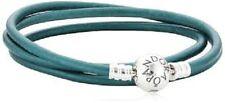 "Pandora 925 #590714ctt-T2 Teal  triple leather bracelet smooth  22.4"" NWOT"