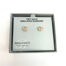Brilliance Fine 10k Gold Cubic Zirconia Butterfly Earrings