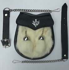 Boy Size 2 Tassels White Rabbit Fur, Scottish Kilt Sporran + Belt