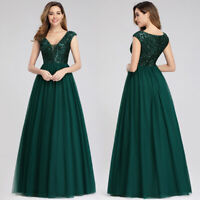 UK Ever-Pretty Sequin V Neck Long Bridesmaid Dresses Chiffon Wedding Party Gowns