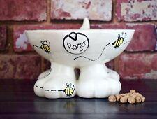 personalised ceramic dog bowl hand painted dog bowl elevated dog bowl bee bowl