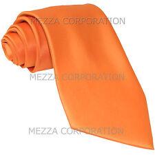 New Vesuvio Napoli Men's necktie solid color 100% polyester wedding prom Orange