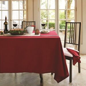 RANS Elegant Hemstitch Tablecloths 100% Cotton Rectangle, Round and Square