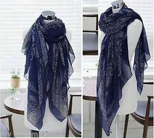 Lady Women's Fashion Long Big Soft Cotton Voile Scarf Shawl Wrap Blue