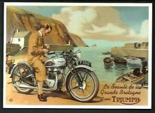 Triumph T 100 - Riproduzione moderna su cartolina di pubblicità d'epoca