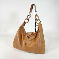 MICHAEL Michael Kors Leather Shoulder Bag Large Brown Chain Strap Women's