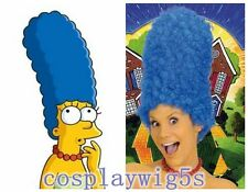 Simpsons TV Fancy Dress Party Film.Tall Blue Beehive Marge Wig Curly High Hair
