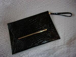 large, black patient, mock croc, clutch bag, with wrist strap, gold hardwear