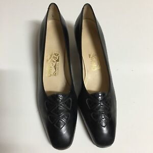 """Salvatore Ferragamo Women's 7 AA Black Leather 1.75"""" Low Heels Pumps"""