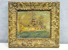Antique Folk Art Ocean Steamer Maritime Diorama mid to late 1800's