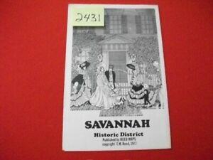VINTAGE 1977 SAVANNAH GEORGIA HISTORIC DISTRICT MAP W/ LOCAL ADVERTISEMENTS VGC