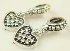 hot European Silver CZ Charm Beads Fit sterling 925 Necklace Bracelet Chain ev9