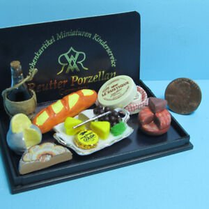 Dollhouse Miniature Reutter Deluxe Wine & Cheese Tray & Plate Set 1.852/6