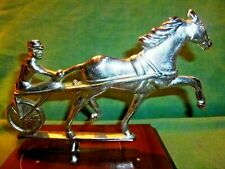 "Horse Sulky Driver, Trophy, Mailbox top or Hood Ornament, Metal is 5 1/2"" tall."