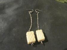 Lovely Art Deco Solid Silver & Chinese Carved Drop Earrings
