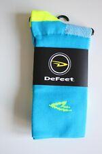 "DeFeet D-Logo 5"" Double Cuff Aireator Bike Socks Process Blue/Hi-Vis Yellow -Sml"