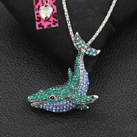 Betsey Johnson Crystal Whale Fish Pendant Sweater Chain Necklace/Brooch Pin