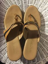 """Sandals, MILA PAOLI, between toe, tan with black braided trim & gold accents, 3"""""""